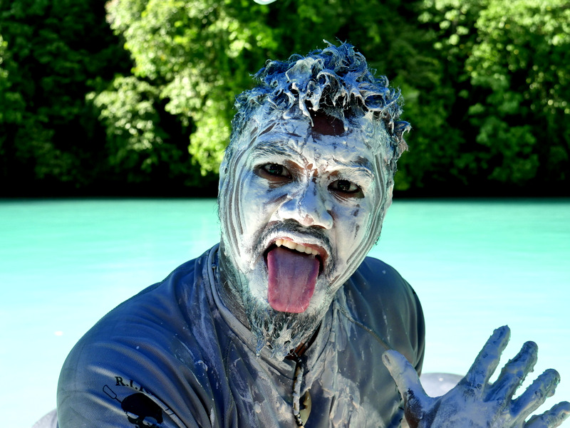 White mud from the limestone is used as a skin treatment in Palau