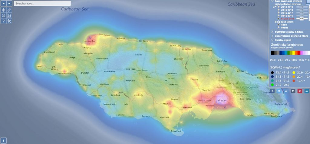 Light polution map Jamaica