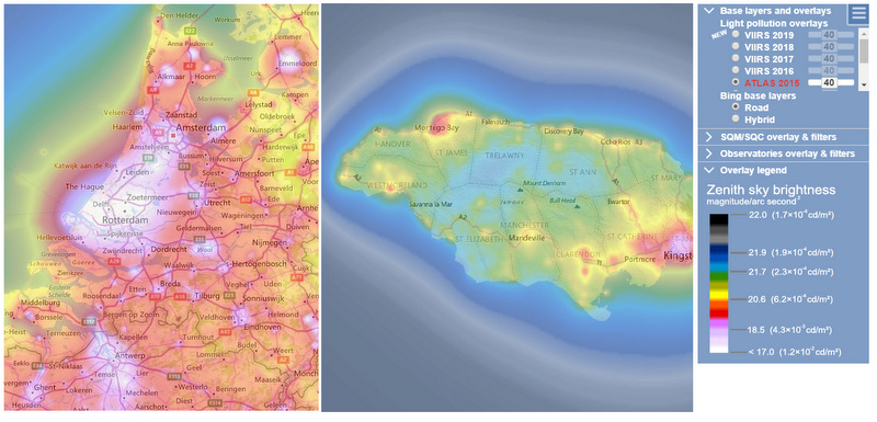 Light polution map comparison Europe and Jamaica