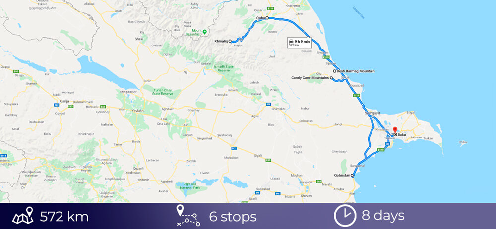 Road Trip map Azerbaijan