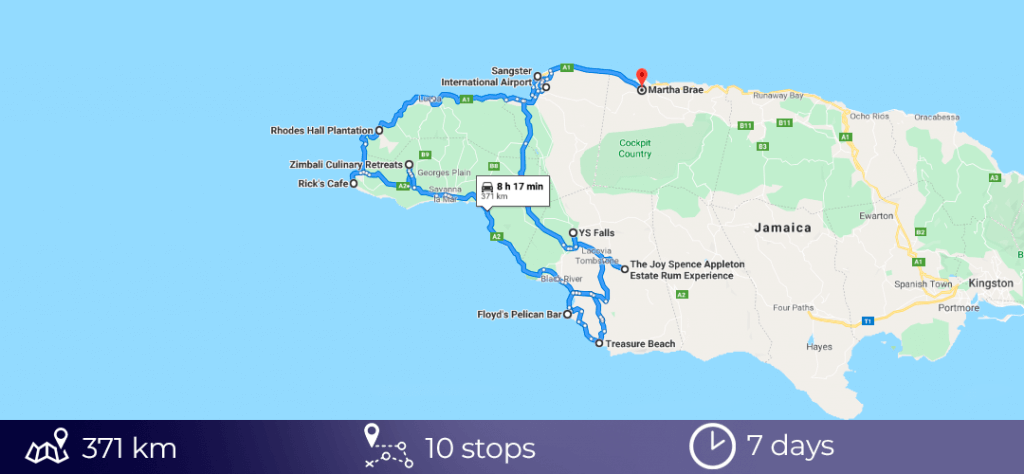 Road trip map of Jamaica