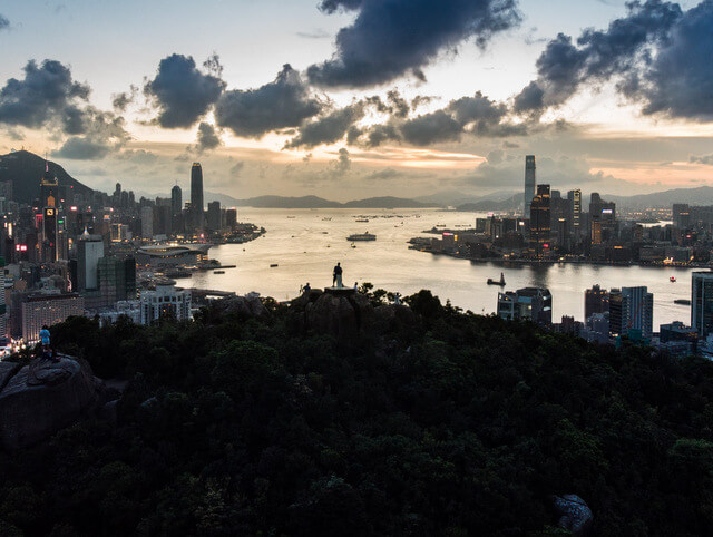 Sight of Hong Kong Island on the left and Kowloon on the right from the Braemar Peak viewpoint