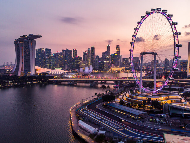 Marina Bay District, Singapore with a drone from the air