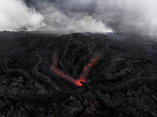 Aerial view of a lava spring at the Pacaya Volcano in Guatemala