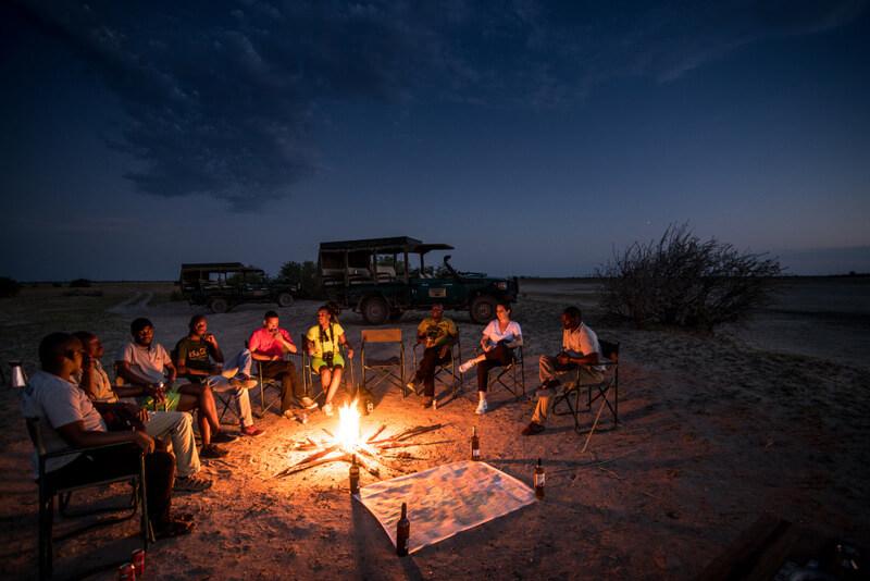 Bonfire and stargazing in Botswana