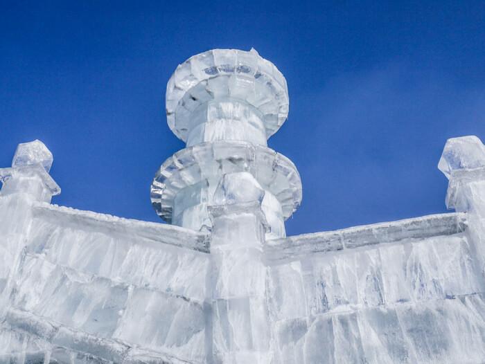 A bridge made of ice blocks in Harbin