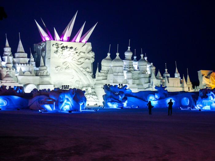 Sun Island International Snow Sculpture Art Expo in Harbin at night