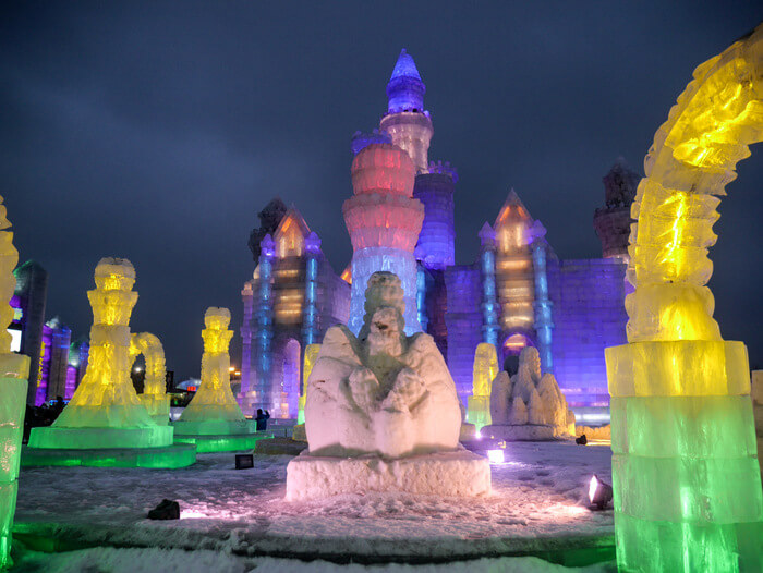 Castles, bridges and buildings at the Harbin Ice and Snow World in Harbin