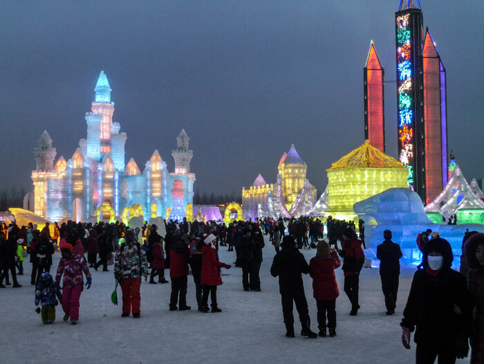 Harbin Ice and Snow World at night