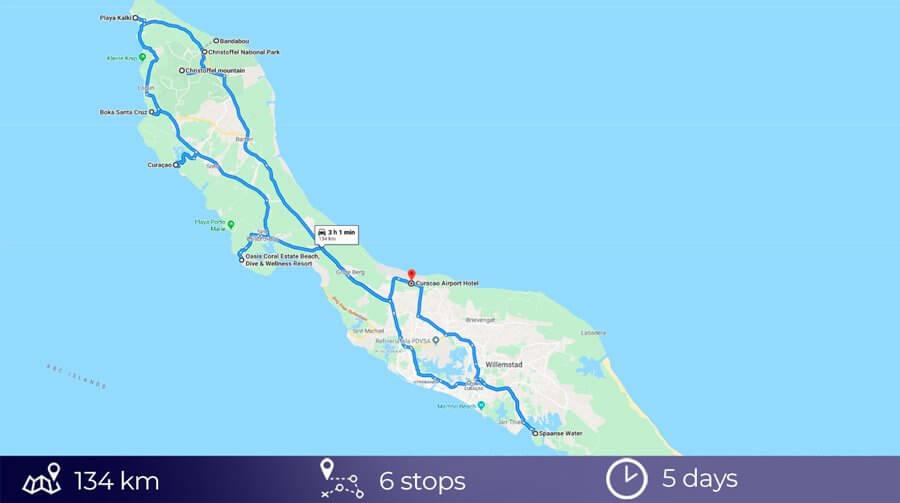 Road trip map in Curaçao