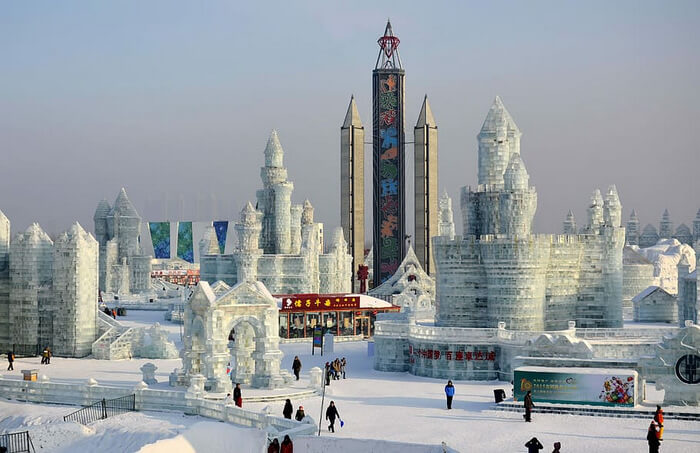 Ice structures and buildings in a city of ice and snow