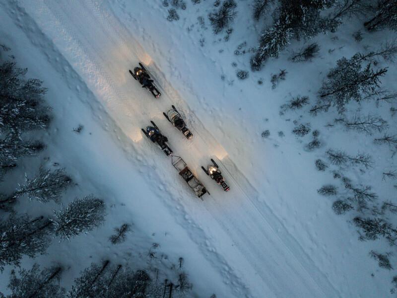 Snowmobiles in the Svansele Wilderness Camp