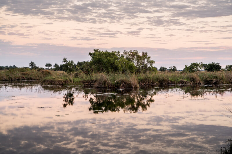 Sunrise at the Shinde Camp inside the Okavango