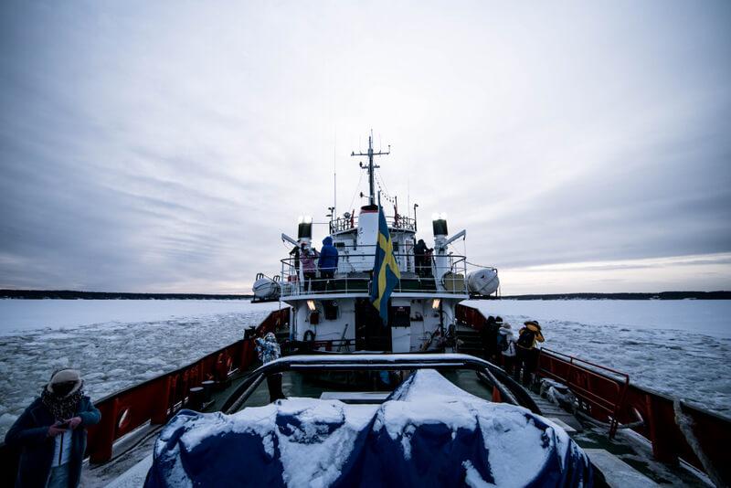 Ice breaker boat in Pitea
