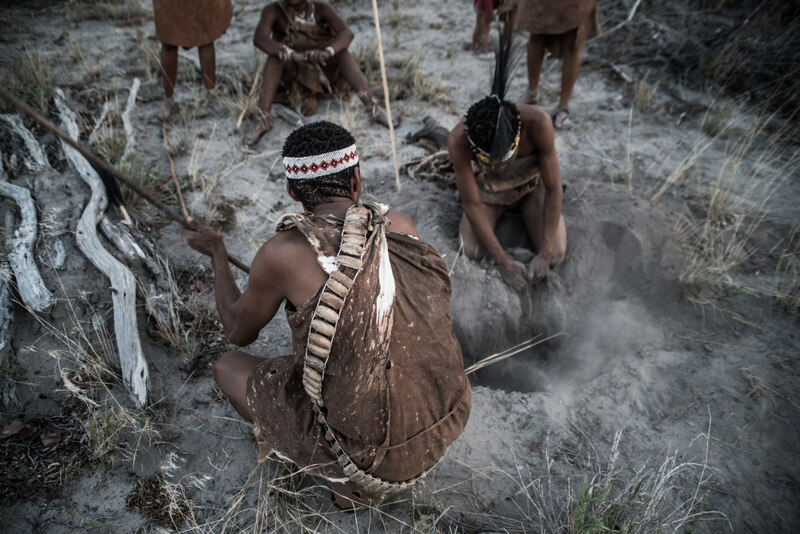 The San Tribe in Botswana showing how to find food and water - Ethnic tourism in Botswana