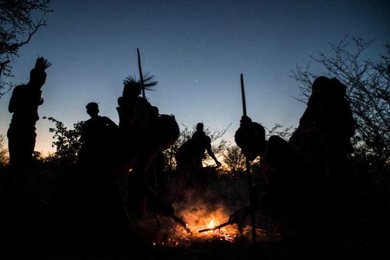 San Bushmen dancing and singing at night