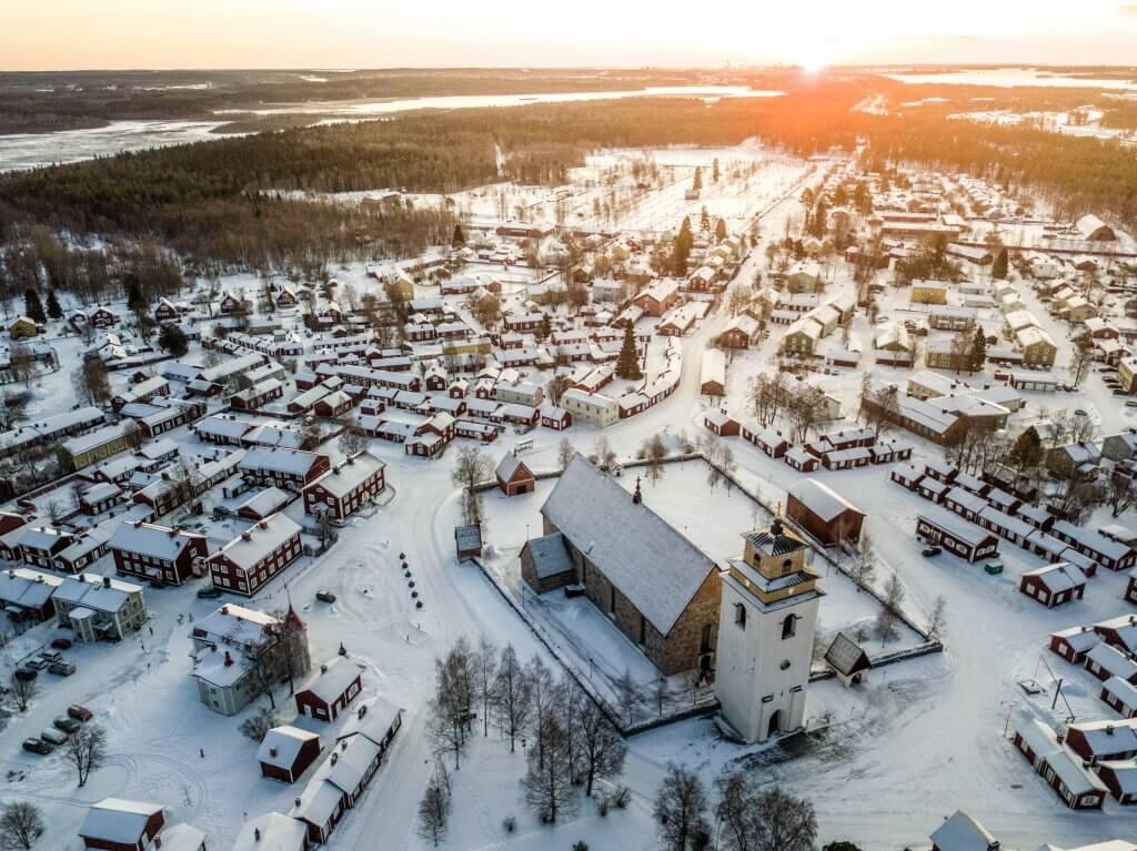 UNESCO World Heritage Site Gammelstad Church Town on Winter
