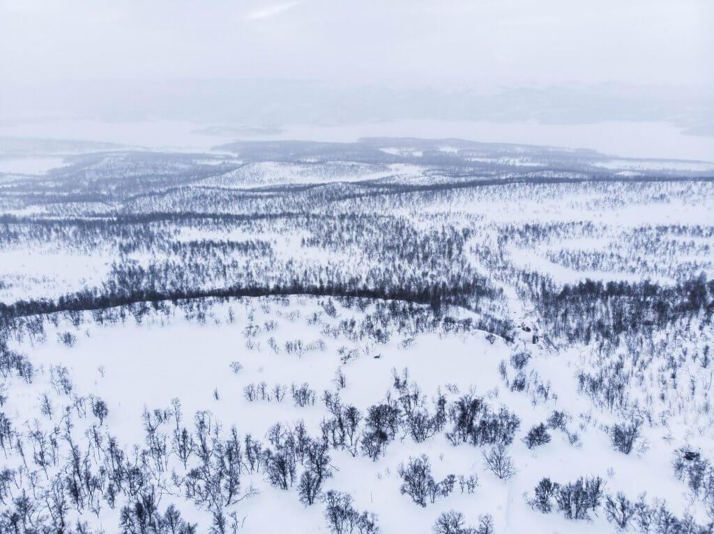 Aerial view from  Vuoggatjalme