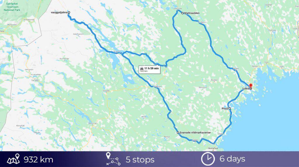 Road Trip map Swedish Lapland