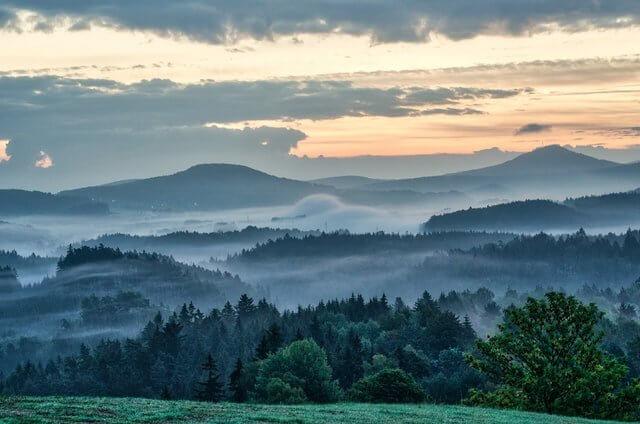 Sunset views at Bohemian Switzerland in Czechia