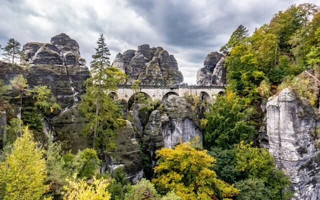 SView of Bastei Bridge, Saxon Switzerland's most scenic spot