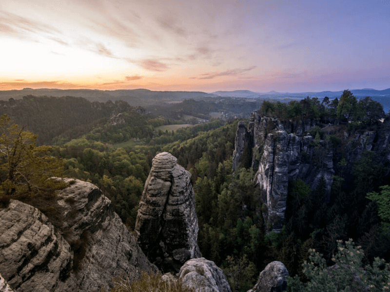 Sunrise at Saxon Switzerland National Park