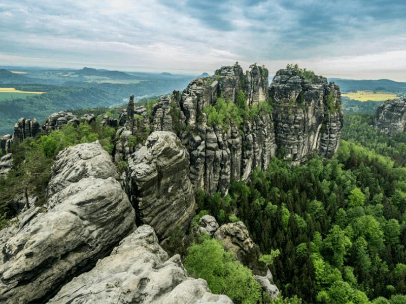 Top View of the Schrammsteine in Saxon Switzerland