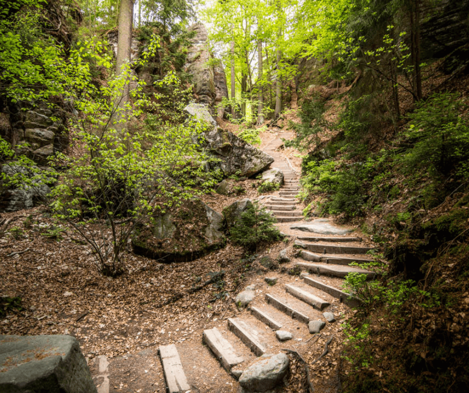 Stairs at the Swedish Holes in Saxon Switzerland