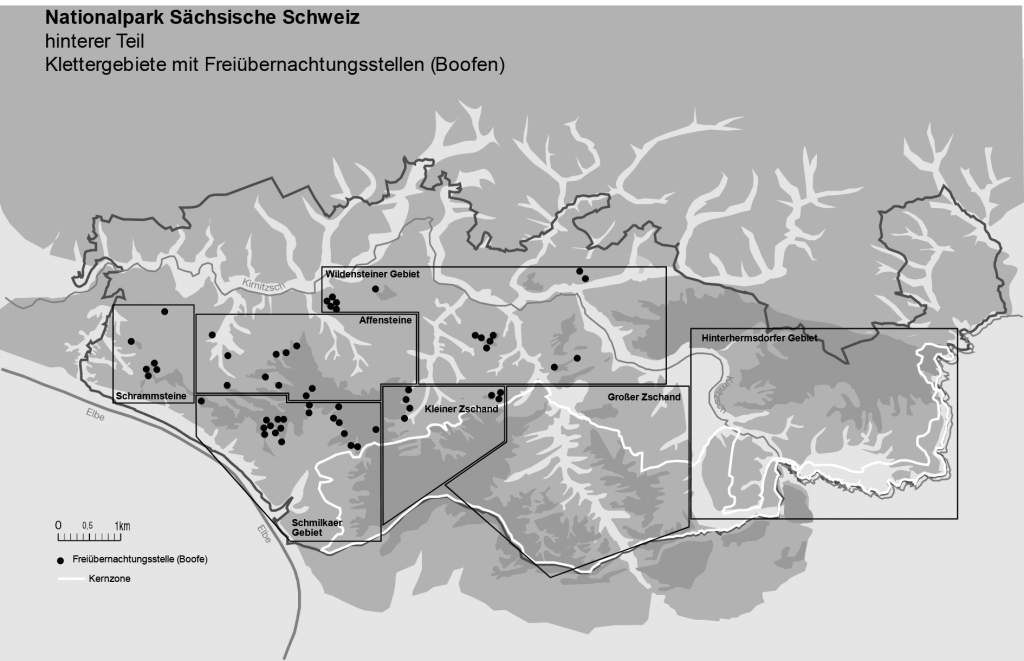 Map of wild camping areas in Saxon Switzerland