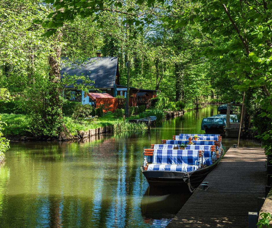 Boats along Spreewald