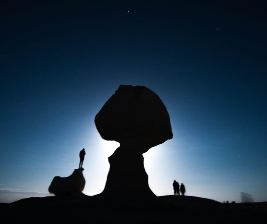Mushroom White Desert at full moon