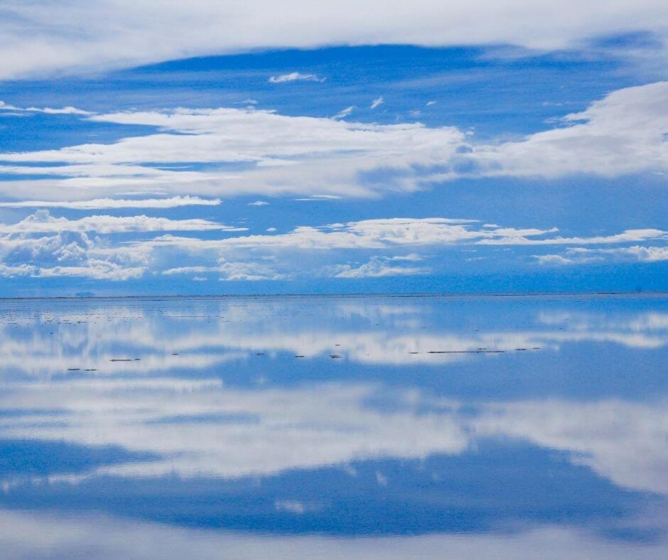 Reflection of the sky at Salar de Uyuni during rainy season