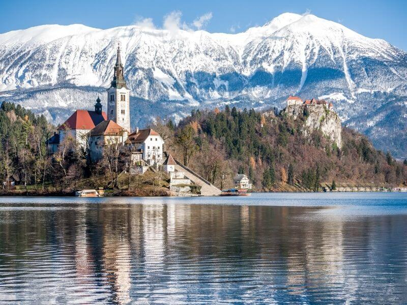 Bled Lake in the Slovenian Alps