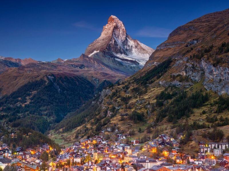 View of the village of Zermatt at the feet of Matterhorn
