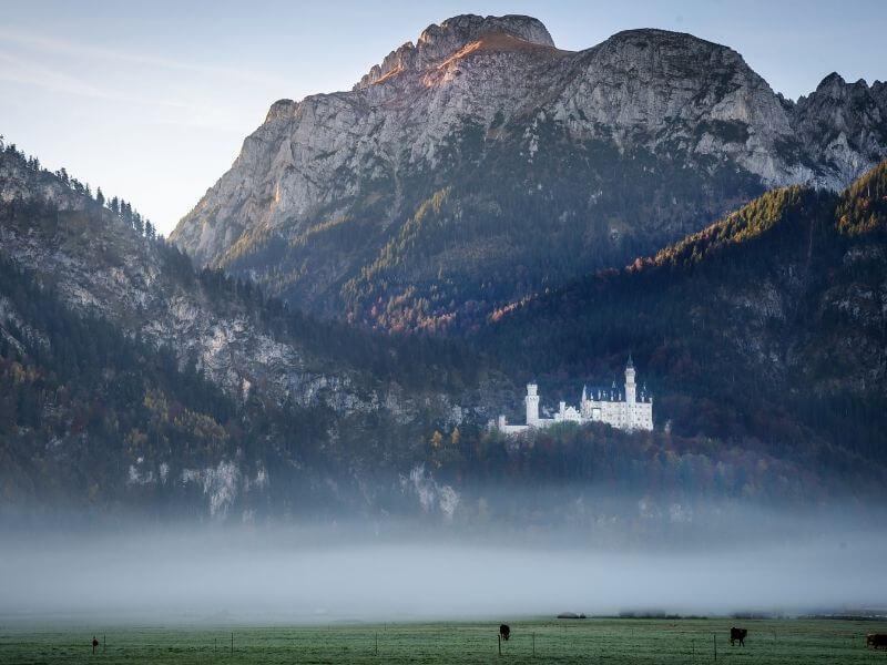 View of Neuschwanstein Castle in the German Alps