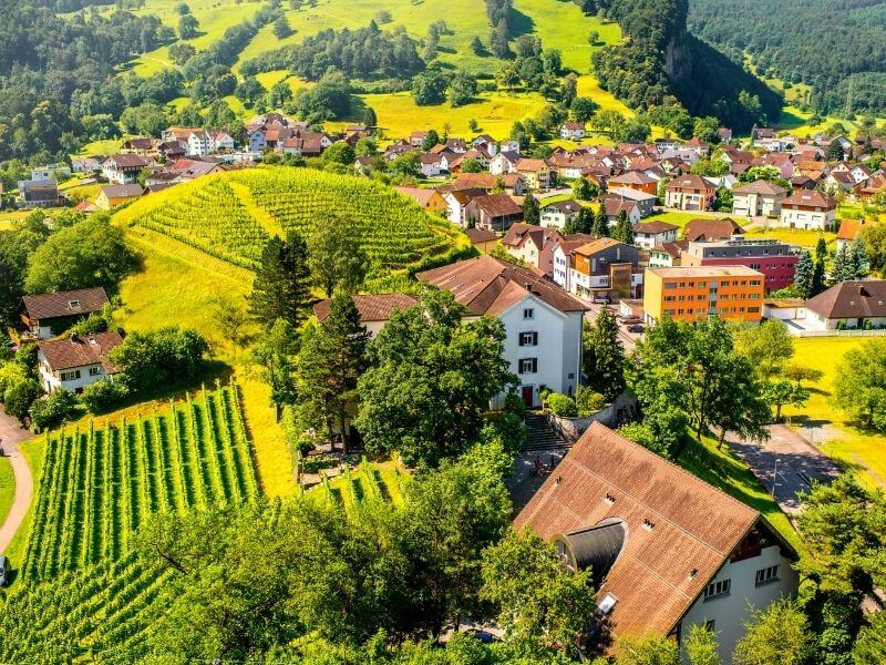 Views of the urban areas of Liechtenstein in the southern side of the country.