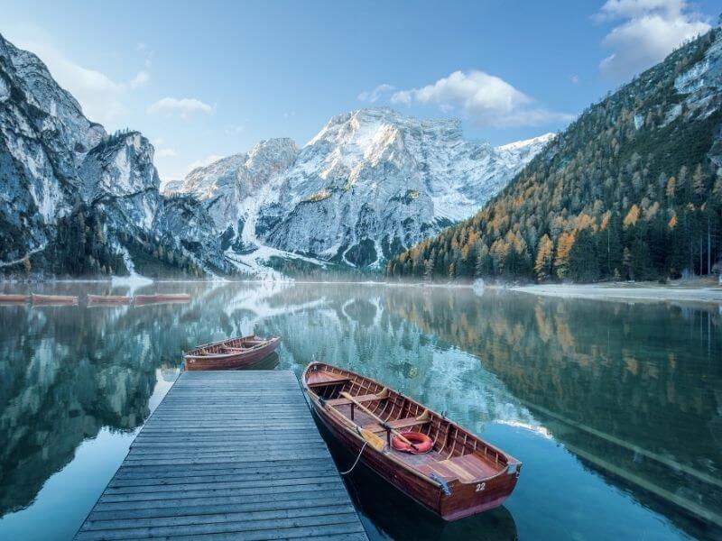 Lago di Braies in the Dolomites - Start of the Alta Via 1