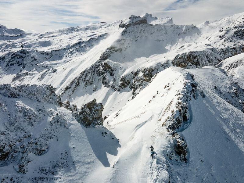 Liechtenstein Hiking the Gina-Fürstin-Weg during a snowy day