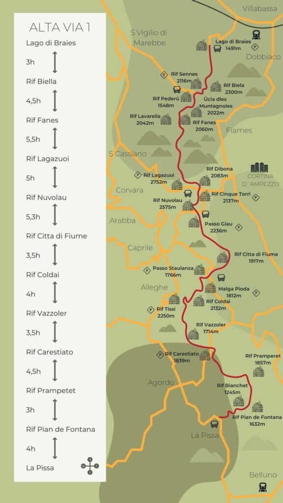 Map of the Alta Via 1 in the Dolomites
