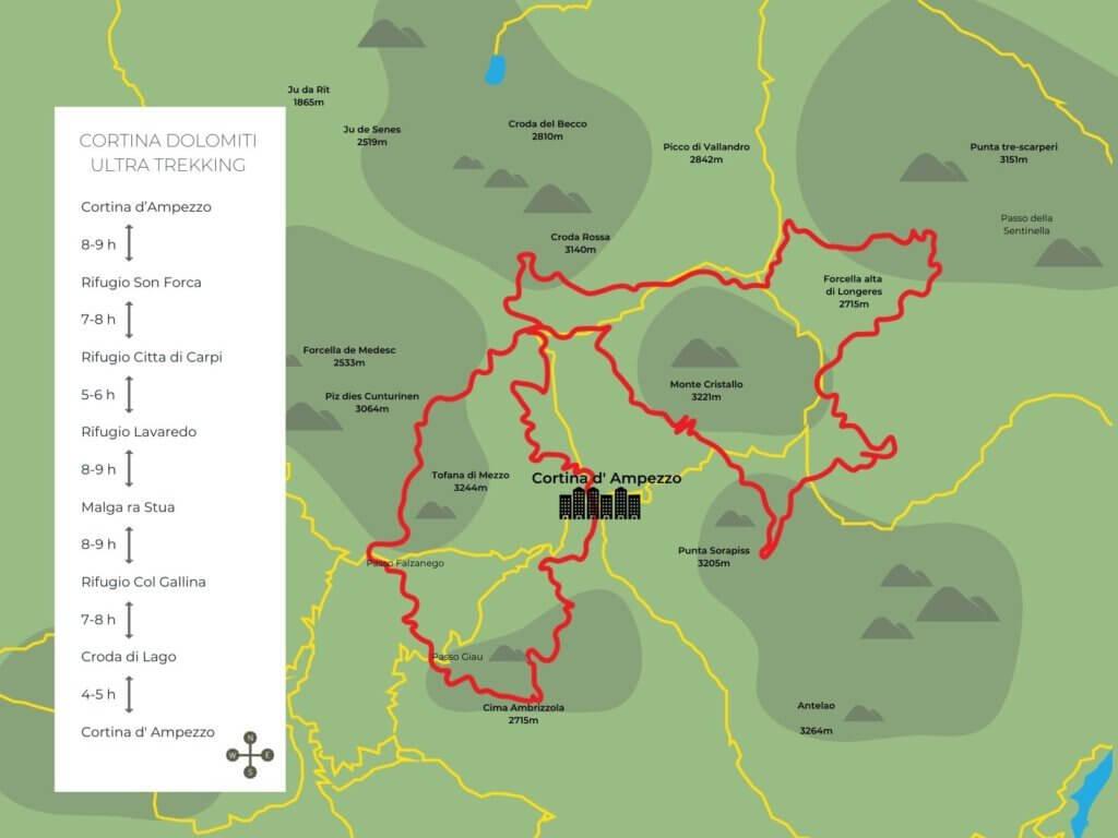 Map of the Cortina Dolomiti Ultra Trekking route