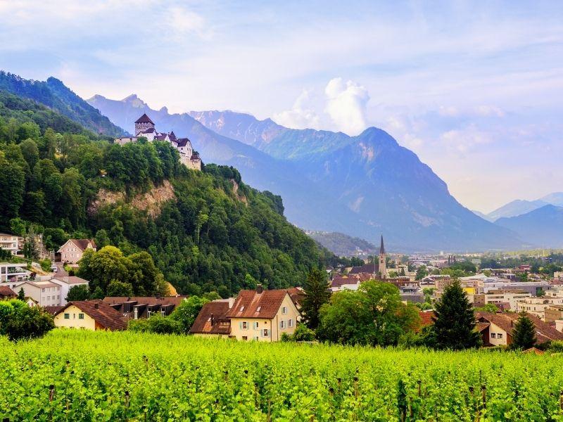 View of the Vaduz castle at the Liechteinsteiner Weg