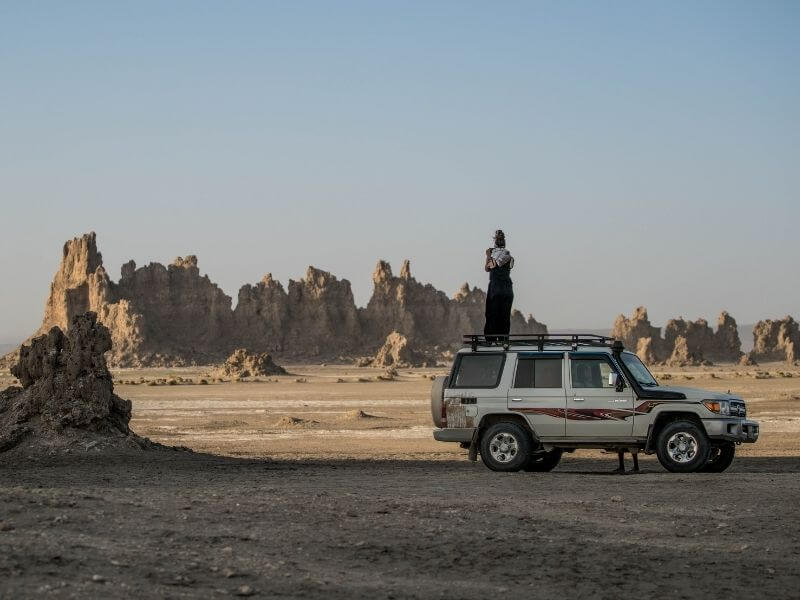 Tourist photographing in Lac Abbe Djibouti