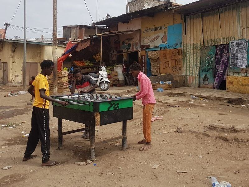 Kids playing foosball in the African Quarter of Djibouti City