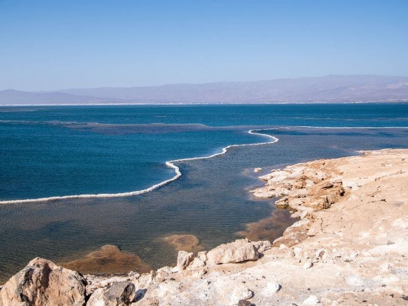 Djibouti - Salt crust in the shores of Lac Assal