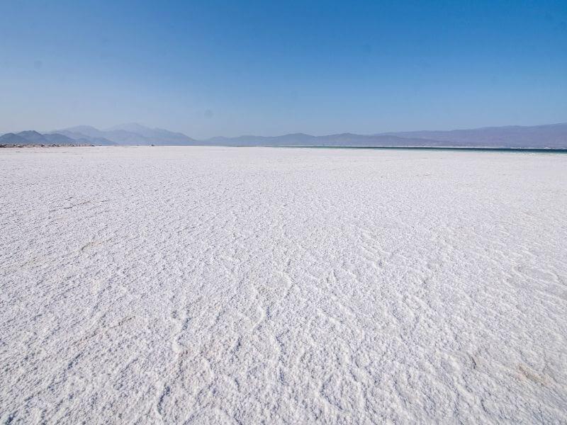 Salt flat of Lac Assal in Djibouti