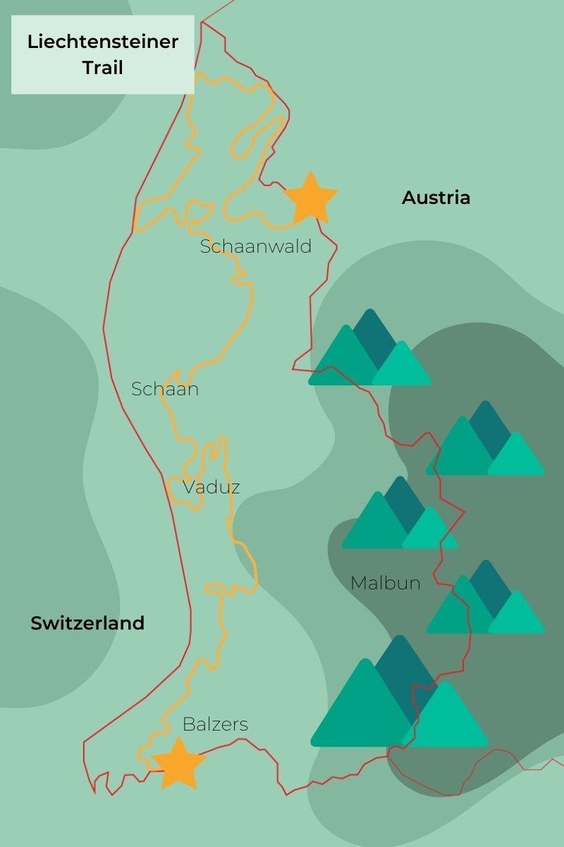 Map of the Liechtenstein Trail