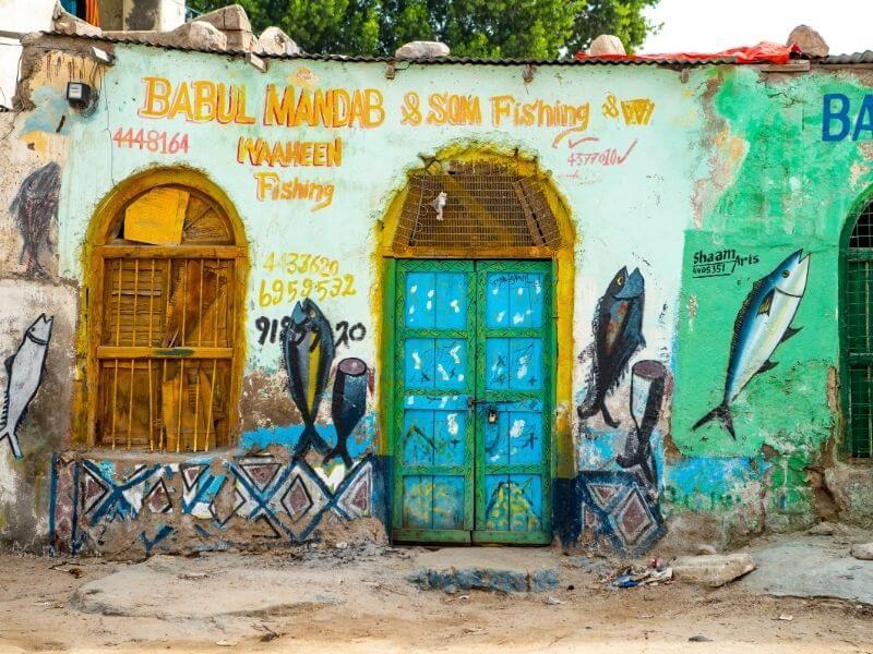 Colorful fish shops in Berbera, Somaliland
