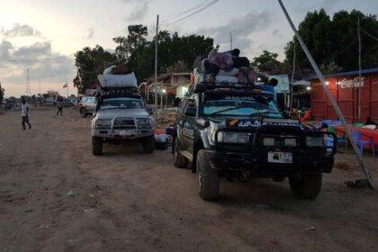 cars at the somaliland border - crossing Djibouti Somaliland border