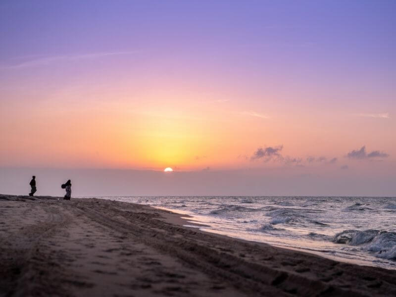 Sunset in Berbera's empty beach