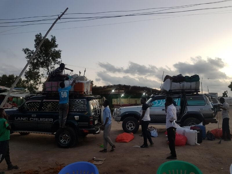 Packing the luggage Somaliland border cars